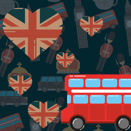 love visit london double decker hearts flags background vector illustration Stock Illustratie