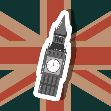 love visit london big ben flag background vector illustration