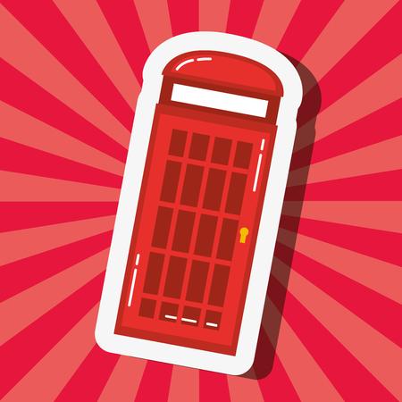 love visit london telepone box pink background vector illustration Ilustração