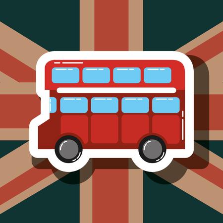 Liebesbesuch London Doppeldecker Flagge Hintergrund Vektor-Illustration