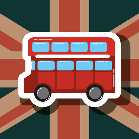 love visit london double decker flag background vector illustration