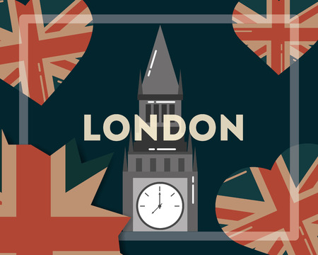 love visit london big ben hearts flag background vector illustration Illustration