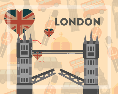 love visit london tower bridge hearts background vector illustration
