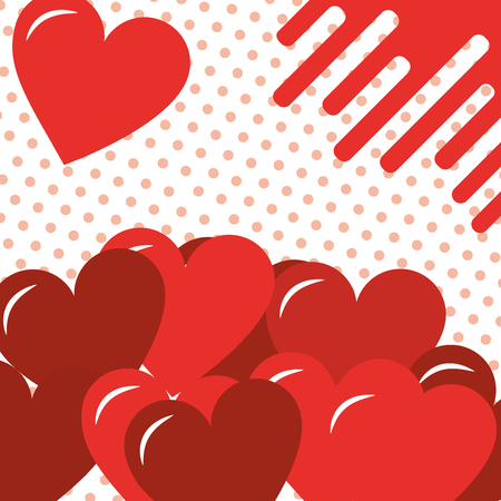 valentines day love hearts dotted background vector illustration