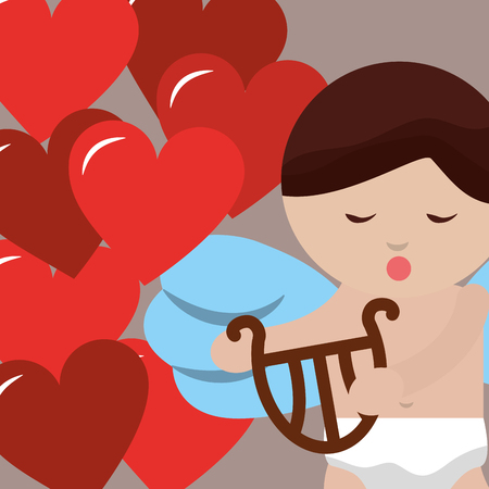 valentines day love baby angel cupid harp hearts vector illustration 일러스트