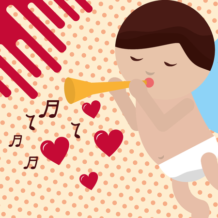 valentines day love baby cupid playing trumpet music icons vector illustration