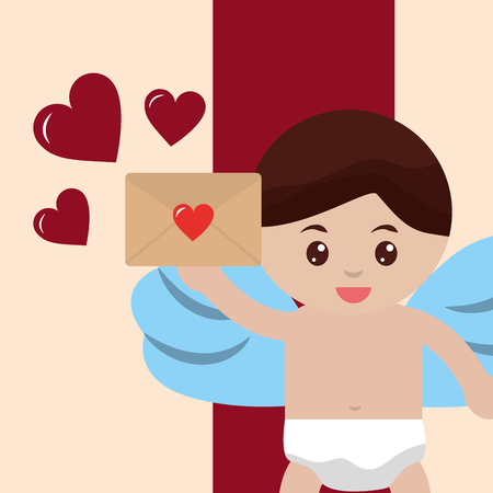 valentines day love baby cupid angel holding letter hearts vector illustration 일러스트