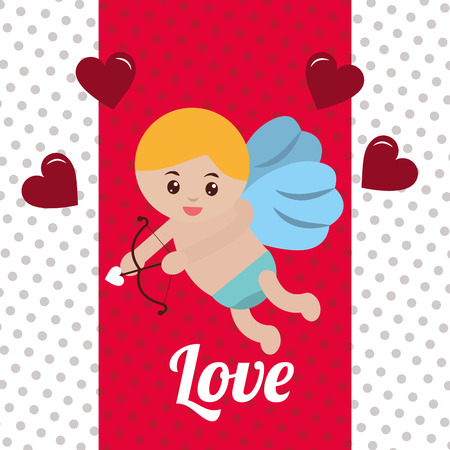 valentines day love cupid baby angel arrowed hearts vector illustration