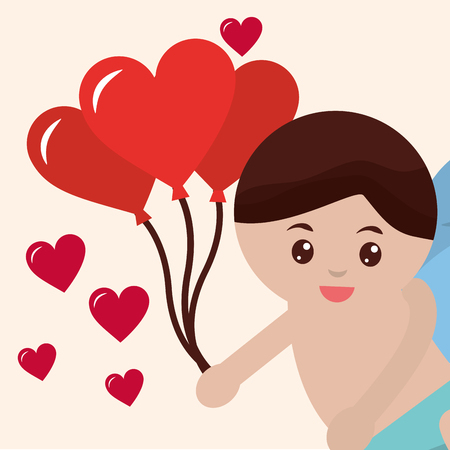 valentines day love cupid baby angel holding balloons hearts vector illustration
