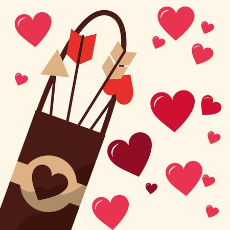 valentines day love arrows hearts romantic vector illustration