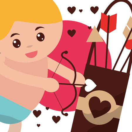 valentines day love cupid baby holding arc arrow hearts vector illustration