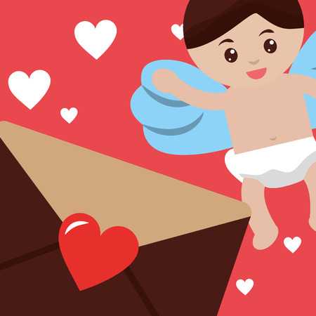 valentines day love cute cupid angel greeting letter hearts vector illustration