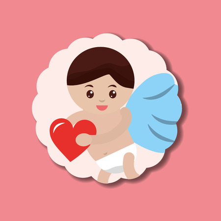valentines day love sticker baby cupid holding heart vector illustration 向量圖像