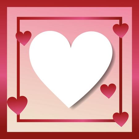 valentines day love frame with hearts degrade background vector illustration Illustration