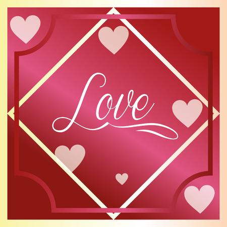 valentines day love figure frame pink hearts vector illustration Illustration