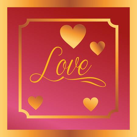 valentines day love frame card hearts vector illustration