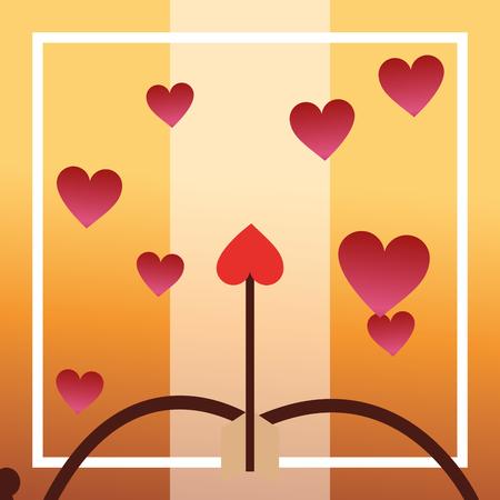 valentines day love arc arrows hearts vector illustration Illustration