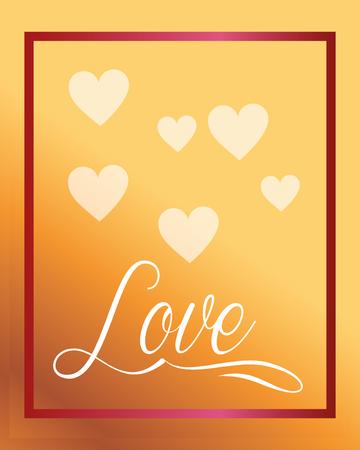 valentines day love frame hearts sign vector illustration