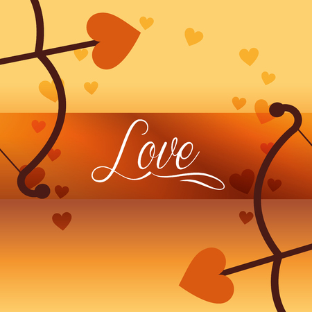 valentines day love arrows arc hearts vector illustration
