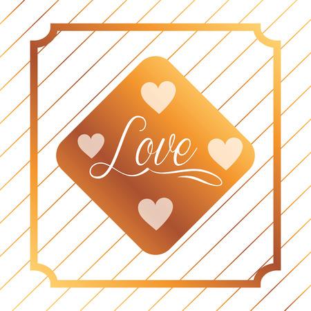 valentines day love diamond sign hearts vector illustration