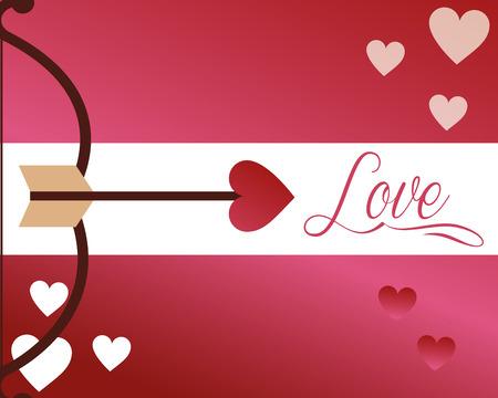 valentines day love arc arrowed hearts vector illustration