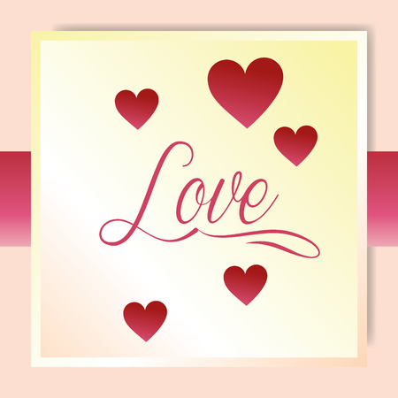 valentines day love frame sign hearts feeling vector ilustration