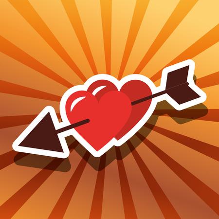 valentines day love arrowed hearts vector illustration Illustration