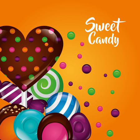 sweet candy chocolate bonbon alminds bananas mints vector illustration