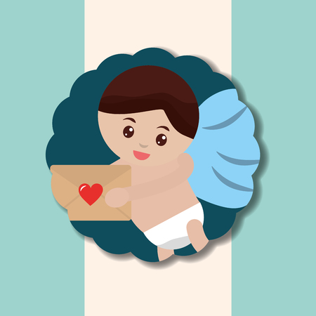 valentines day love sticker cupid angel holding letter vector illustration Standard-Bild - 110446576