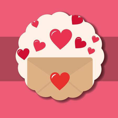 valentines day love sticker letter hearts pink background vector illustration Illustration