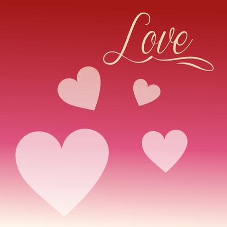 valentines day love sign hearts degrade background vector illustration