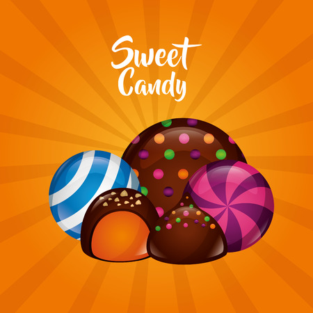 sweet candy chocolate chips mint flavor almind vector illustration Ilustrace