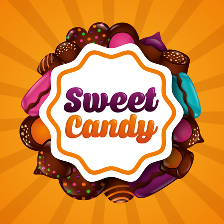 sweet candy label sign chocolate chips cookies cakes delicious vector illustration