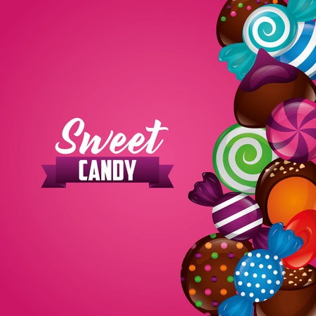 sweet candy ribbon sign chocolate chips cookies mints bananas vector illustration