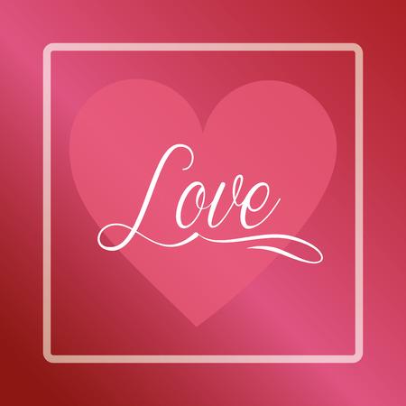 valentines day love frame sign heart vector illustration