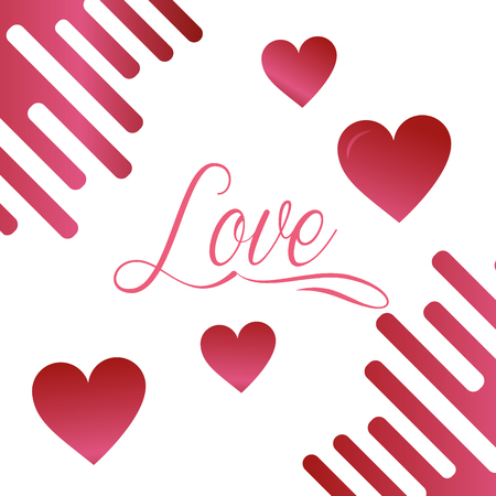valentines day love pink hearts sign vector illustration
