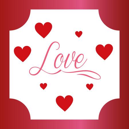 valentines day love frame sign hearts romantic vector illustration Illusztráció