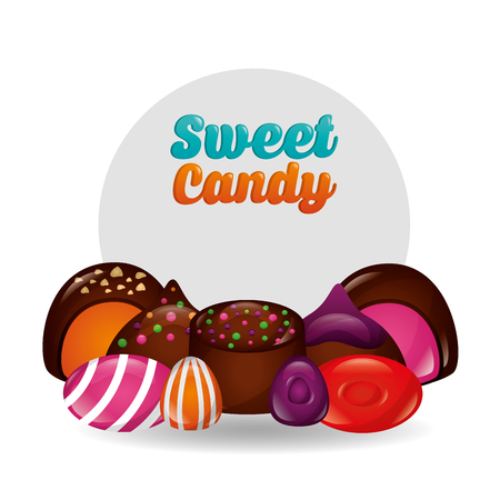 sweet candy sign chocolate chips cake cookies vector illustration Ilustração