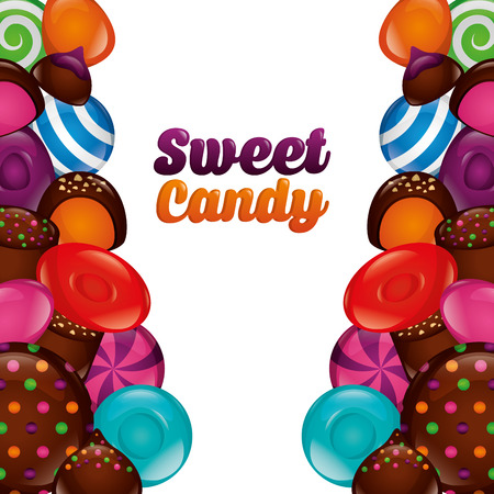 sweet candy cookies cake alminds chocolate chips vector illustration