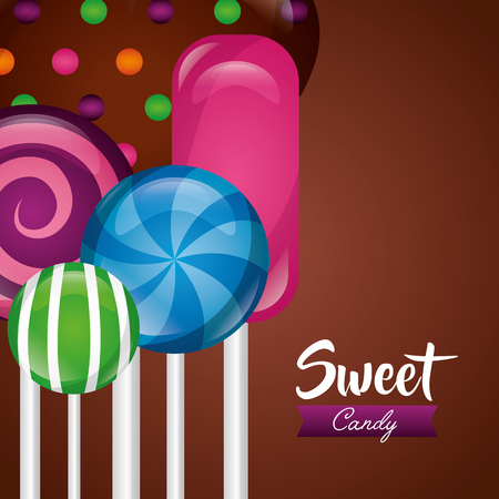 sweet candy bonbon flavors heart chocolate chips vector illustration