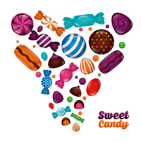 sweet candy mints bananas cakes cookies chocolate flavors vector illustration
