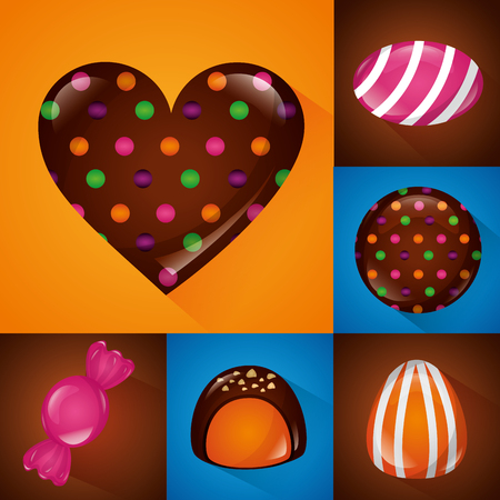 sweet candy banners colors heart cakes cookies of chocolate chips vector illustration Illustration