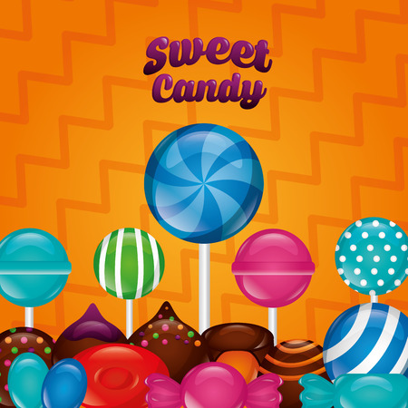sweet candy palettes flavors cakes chocolates chips vector illustration Illustration