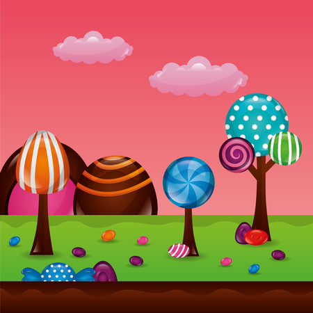 sweet candy clouds park trees palettes balls flavors vector illustration Illustration