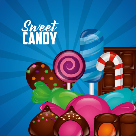 sweet candy palettes flavors chocolates chips cakes vector illustration Illustration