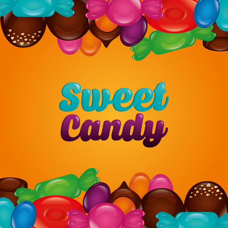 sweet candy color sign chocolate strawberry alminds bananas flavors vector illustration Illustration