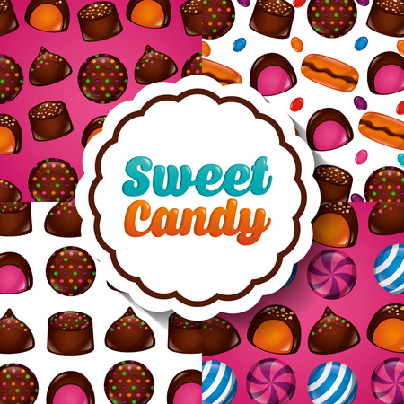 sweet candy sticker sign chocolate cakes cookies flavors background vector illustration