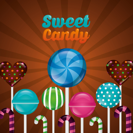 sweet candy palettes flavors candy canes vector illustration
