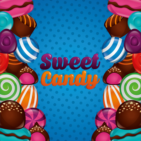 sweet candy caramels cakes cookies flavors dotted background vector illustration