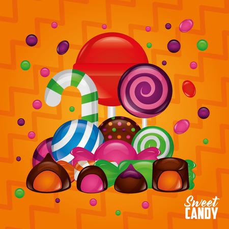 sweet candy bonbon palette flavor alminds cakes chocolates vector illustration Illustration
